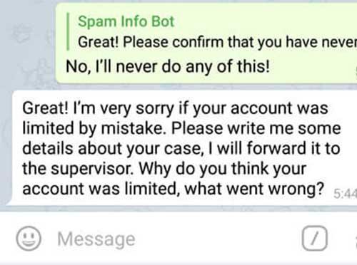 پیام ارسالی برای رفع ریپورت تلگرام