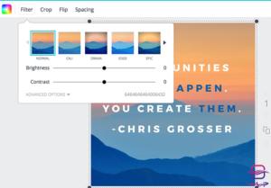 تغییر روشنایی و کنتراست تصویر برای طراحی پست و استوری اینستاگرام در سایت canva