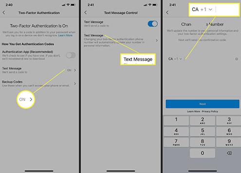 فعال سازی رمز دو مرحله ای اینستاگرام با استفاده از پیام متنی